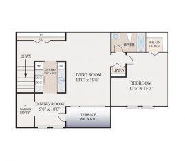 1 Bedroom 1 Bath Second Floor. 765 sq. ft.