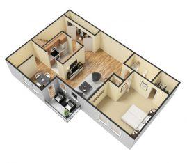 3D - Furnished - 1 Bedroom 1 Bath Second Floor. 765 sq. ft.