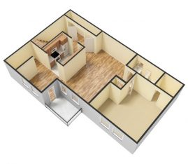 1bed-1bath floor plan