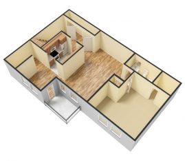 3D - Unfurnished - 1 Bedroom 1 Bath Second Floor. 765 sq. ft.