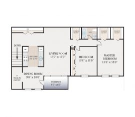 2bed-1bath floor plan