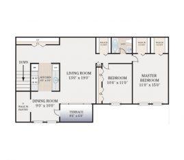 2 Bedroom 1 Bath Second Floor. 950 sq. ft.