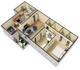 3D - Furnished - 2 Bedroom 1 Bath Second Floor. 950 sq. ft.