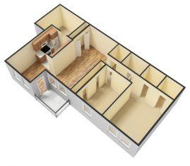 3D - Unfurnished - 2 Bedroom 1 Bath Second Floor. 950 sq. ft.